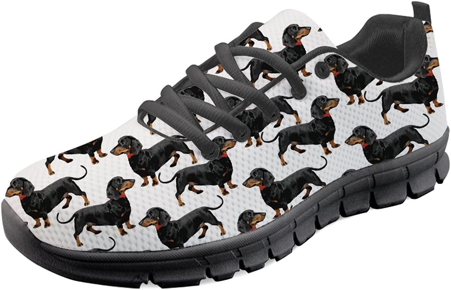 coloranimal Casual Lace up Jogger Sneakers Dachshund Dog Printed Sports Flats
