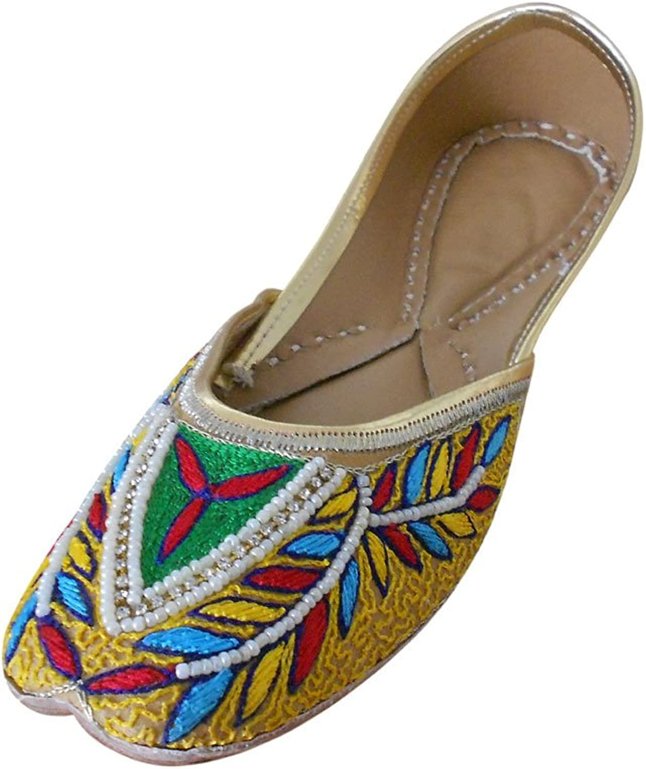 Kalra Creations Jutti Women's Traditional Indian Faux Leather with Embroidery Ethnic shoes