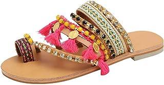 9bbf91d984e43 Dressin Bohemian Sandals Ethnic Style Flat Shoes Women's Thong Sandal  Beaded Rhinestone Sandals Beach Slipper