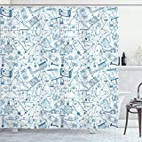 ABAKUHAUS Colegio Cortina de Baño, Dibujo temáticas Física, Material Resistente al Agua Durable Estampa Digital, 175 x 200 cm, Azul Azul pálido