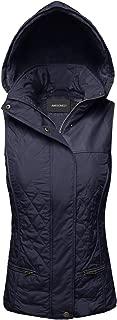 Women's Quilted Zipper Snap Button Closure Detachable Hoodie Padding Vest
