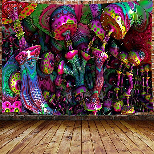 "Trippy Mushroom Tapestry for Men, Psychedelic Fantasy Magical 3D Mushroom Small Tapestry Wall Hanging for Bedroom, Cool Hippie Blanket Home Decor (60"" W X 40"" H)"