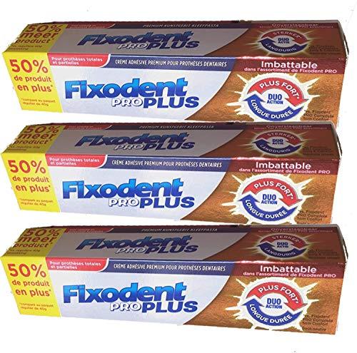 Fixodent - Fixodent Pro # Grand FORMAT 60 g # Duo Action - Crème adhésive premium pour prothèses dentaires - Longue Durée - Plus Fort - Lot de 3 tubes de 60 Grammes