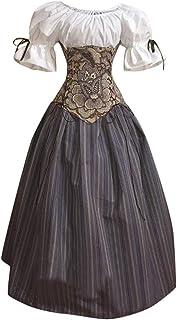 About1988 2019 Gotische Steampunk Kleidung Kleid, Halloween Damen Mittelalter Cosplay Kostüme Gothic Kleider, Kostüm Party Outwear Mantel Long Gothic Mantel Pulloverkleid