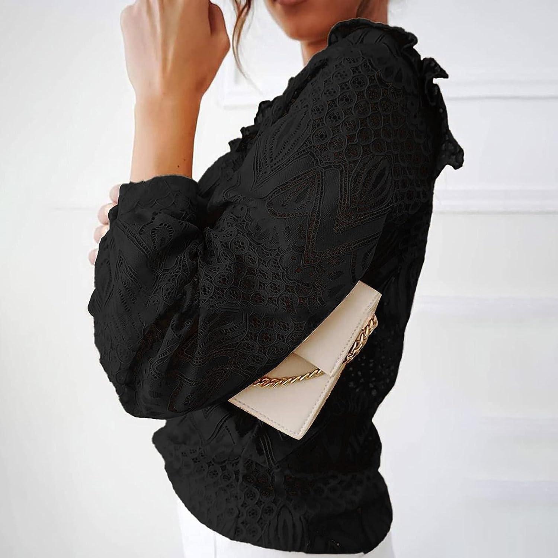 Elegant Lace Tunic Shirt for Women Lotus Ruffle Lapel Vintage Victorian Long Sleeve Blouse Top