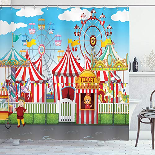 Ambesonne Circus Shower Curtain, Carnival with Many Rides and Shops Illustration Landscape and Cloudy Sky View Print, Cloth Fabric Bathroom Decor Set with Hooks, 75