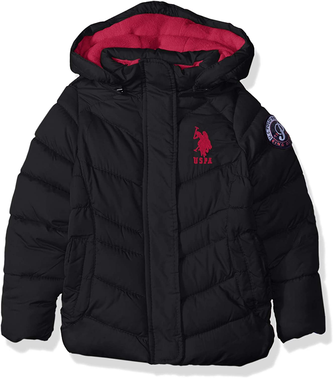 U.S. Polo Assn. Girls' Animer and price revision Hooded Bubble with Detail Free shipping Jacket Piping