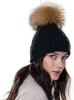 cfd8e0f84ad31 URSFUR Femme Fille Chapeau/Bonnet Tricot Pompon En Vrai Fourrure Torsade  Hiver
