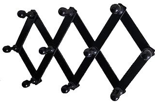 Elegant Accordion Wall Mount Storage Rack Hanger 10-Peg Organizer Wooden Expandable Coat Hook for Hats Jackets Coats Sweaters - Black
