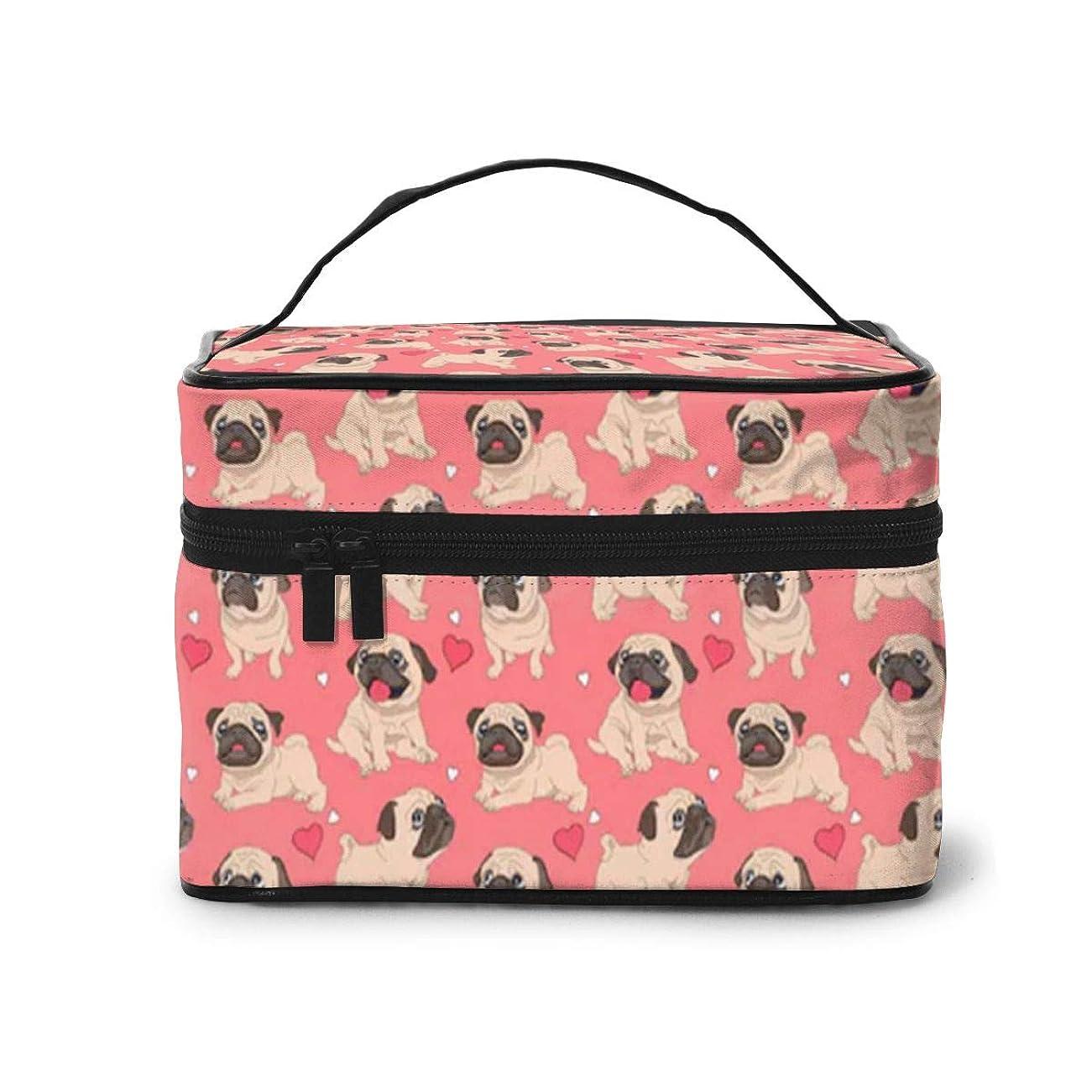 テンポピーブ魅力的であることへのアピールSharing Life かわいい パグ 犬柄 メイクボックス 化粧ポーチ メイクブラシバッグ トラベルポーチ 化粧品収納ケース 機能的 大容量 かわいい 小物整理 収納