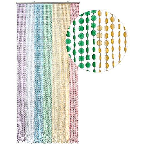 HAB & GUT Türvorhang Mini-DIAMANTEN, Mehrfarbig, 90x200 sehr dicht, Insektenschutz Perlen Pailettenvorhang