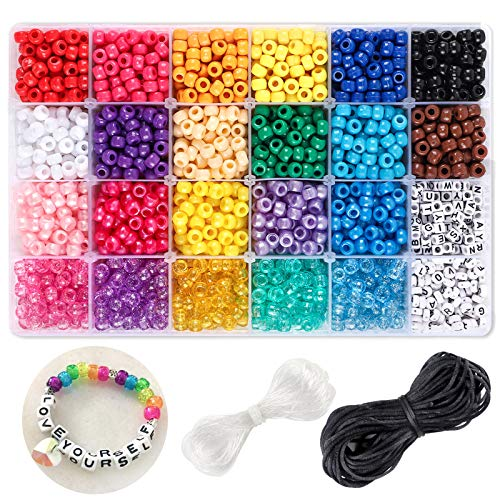 DICOBD 3390pcs Craft Bead Set Contains Plastic Rainbow Beads in 22 Colors and 2 Type Letter Beads for Bracelets Jewelry Making with 10 Meter Elastic Threads, 15 Meter Braided Threads