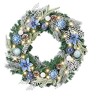 WANNA-CUL Pre-Lit 24 Inch Christmas Wreath for Front Door Silver Blue Christmas Door Wreath Decoration with Ball Ornaments, Poinsettia Flowers,Pine Cones, Battery Operated 30 LED Lights