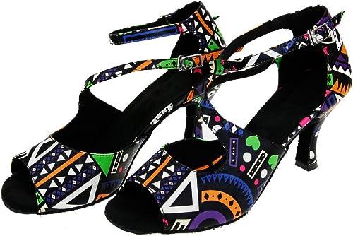 Wohommes Imprimé Chaussures De Danse Latine,Cuir Fond Mou talons hauts Chaussures De Danse Salsa Tango Chaussures De Danse Sociale