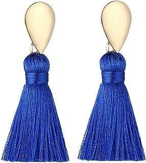 Boho Thread Tassel Dangle Drop Fringe Gold Silver Earrings Vintage Charms Eardrop (Royal Blue-Gold)