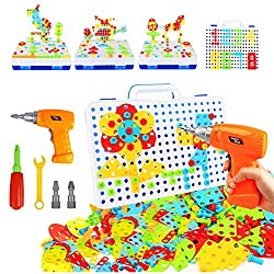 40%OFF 237 Pieces Electric DIY Drill Educational Set, STEM Learning Toys, 3D Construction Engineering Building Blocks for Boys and Girls