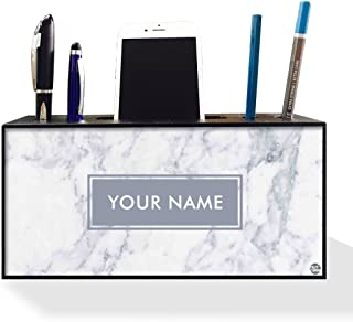 Nutcase Personalized Office Desk Name Plate Mobile Stand Holder Pen Stand -Wooden Desk Organizer- 4