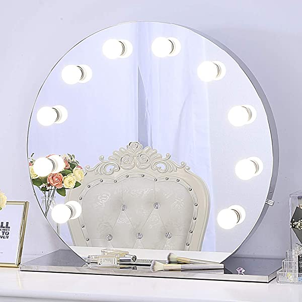 Chende Hollywood Makeup Vanity Mirror With Light Tabletops Lighted Mirror With Dimmer LED Illuminated Cosmetic Mirror With LED Dimmable Bulbs Lighting Mirror Frameless Round