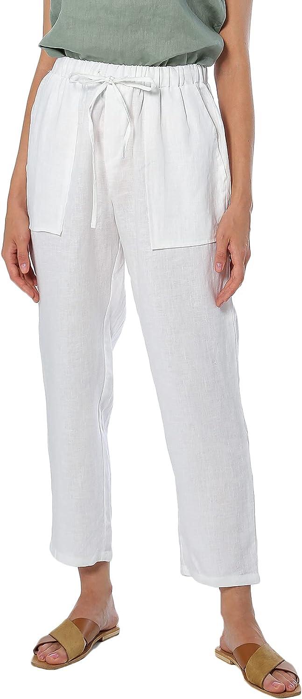 Amazhiyu National products Womens 100% Superlatite Linen Elastic Pants W DrawstringCropped
