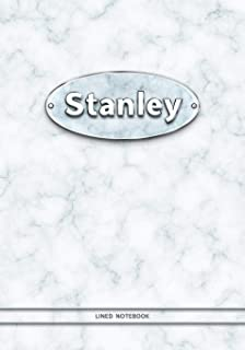 Stanley - Lined Notebook: College Ruled Blank Pages Plus Extra Date Neutral Calendar (12 Months) and Notepad Sketch Designs. Cover Print White Marble ... with Silver-Imitating Name Illustration.