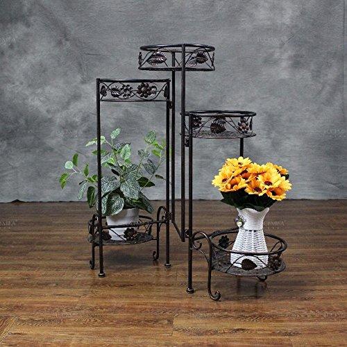 Étagères à fleurs polyvalentes L73CM * W84CM Ventilier pliable Multi-couches Fer fleur Racks Living Room Floor Fleur Racks (blanc/brun) Pour intérieur et extérieur (Couleur : Marron)