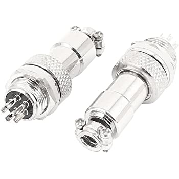 uxcell 2 Sets Screw Aviation Connector Male Female RS765/M12 12mm 5 Pin