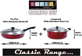 SUPER CLASSIC 2.6mm Aluminium Non-Stick 2 Pcs Combo Set Fry Pan 22 cm 1.4 LTR & Casserole 26 cm 4.8 LTR, Red Color