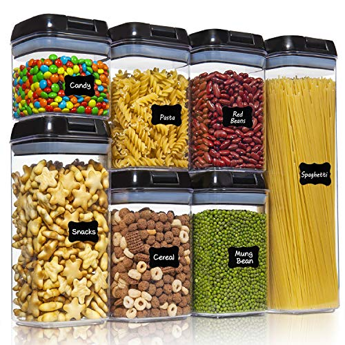 Ecowaare Airtight Food Storage Containers with Lids Set, 7 Pcs Kitchen Storage Containers for Pantry Organization and Storage, BPA Free Plastic Clear Storage Containers, with 24 Pcs Chalkboard Labels