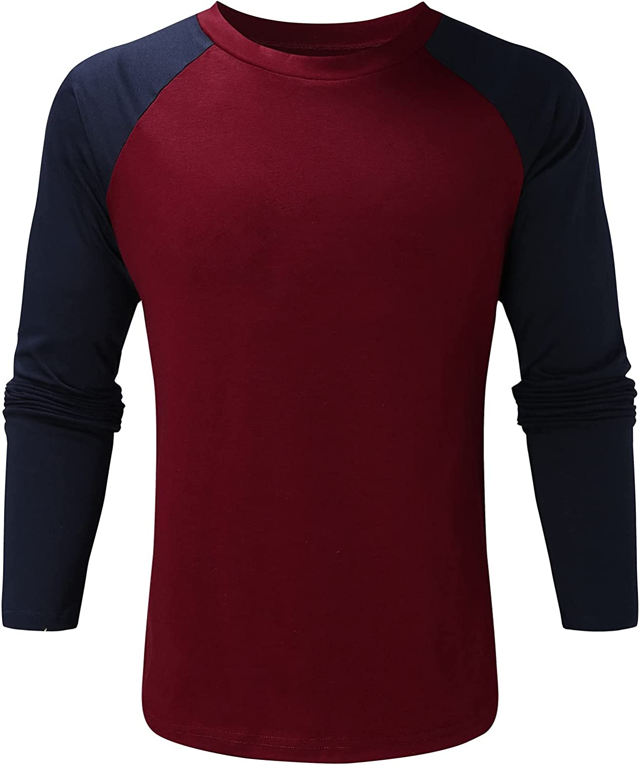 Bravetoshop Men's Long Sleeve T-Shirt Casual Slim Fit Crew Neck Patchwork Basic Pullover Tops