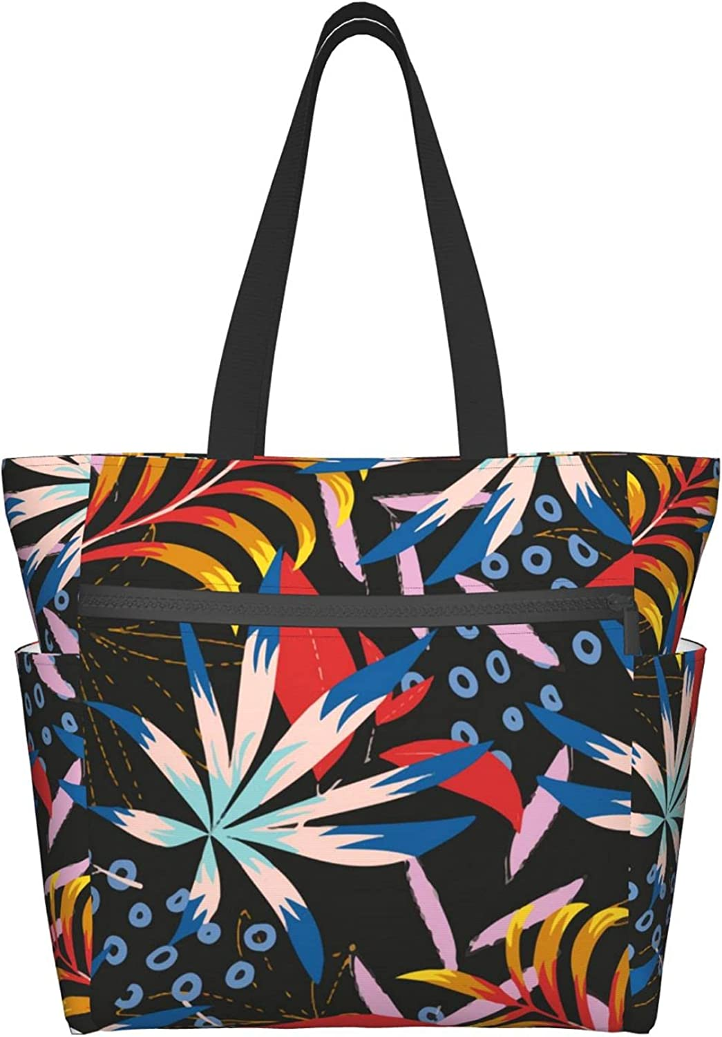 Tote Max 48% OFF Bag with Zipper for Women Phoenix Mall Colorful P Tropical Summer Leaves