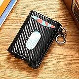 RFID Blocking Pop Up Credit Card Holder, Genuine Leather Business Wallet Aluminum Card Case, Minimalist & Slim Design (Carbon)