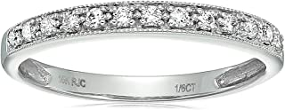 1/6 cttw Petite Diamond Wedding Band in 10K White Gold With Milgrain