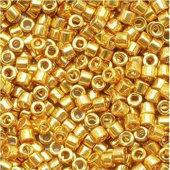 Granos de la semilla Miyuki Delica 11/0 galvanizado amarillo oro DB410 7,2 gramos: Amazon.es: Hogar