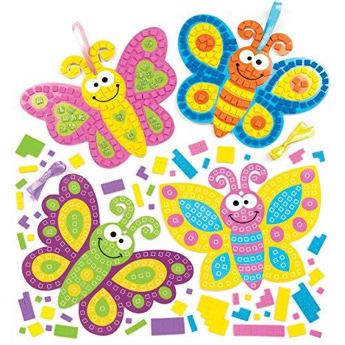 """Baker Ross Mosaik-Bastelsets """"Schmetterlinge"""" (4 Stück) – Selbstklebende Mosaike für Kinder"""