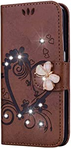 Bear Village  Case Compatible with Samsung Galaxy 2016  Leather Full Body Protective Cover with Credit Card Slot  Magnetic Closure and Kickstand Function  Brown