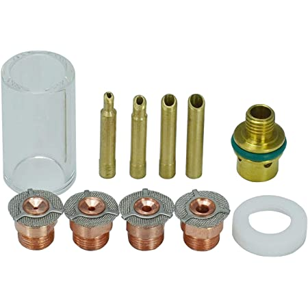 1.6mm,2.4mm and 3.2mm Gas Saver Pyrex Cup Consumable Kit for 17 18 26 TIG Welding Torch 11pcs 1.0mm
