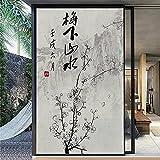 Jzdhlsc Película para Ventana Pintura De Tinta China, Bambú Autoadhesiva Vinilo Cristal Privacidad Ventana Anti UV Lámina para Electrostática 60x90cm