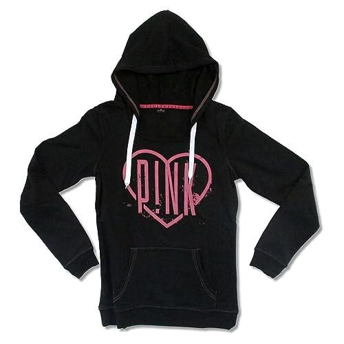63c61040 Pink P!NK Heart Logo Women's Black Pull Over Sweatshirt Hoodie