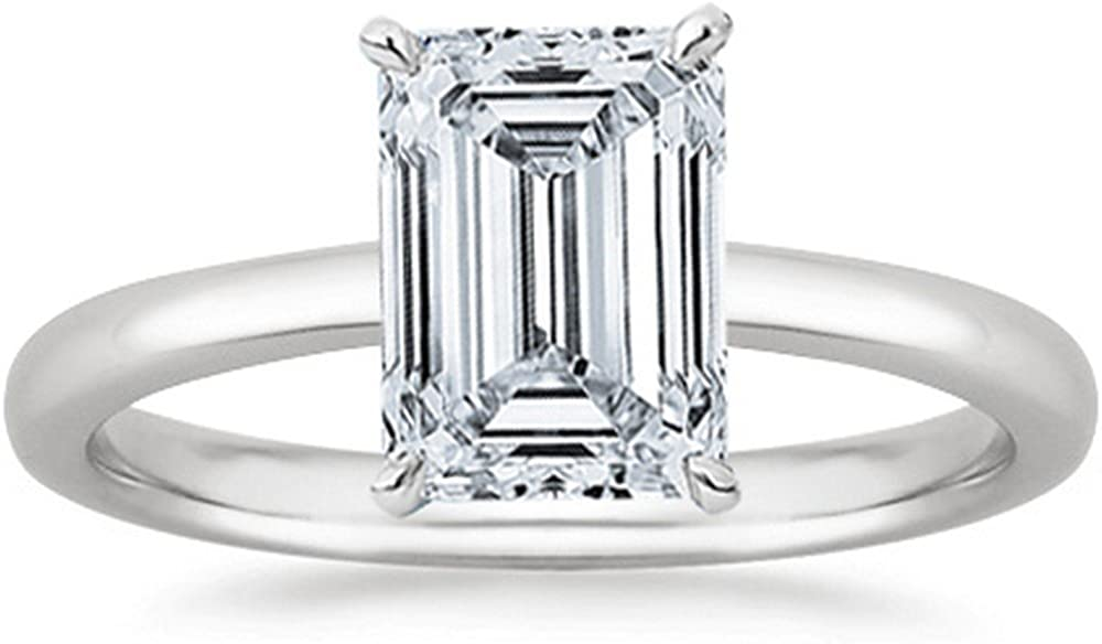 0.4 Ct Emerald Cut Solitaire Diamond Engagement Ring 14K White Gold (E Color SI2 Clarity)