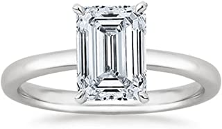 0.9 Near 1 Ct GIA Certified Emerald Cut Solitaire Diamond Engagement Ring 14K White Gold (K Color VS1-VS2 Clarity)