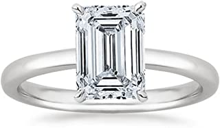 1 Carat GIA Certified 18K White Gold Solitaire Emerald Cut Diamond Engagement Ring (1 Ct D-E Color, VS1-VS2 Clarity)