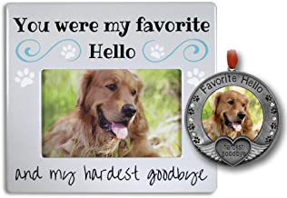 BANBERRY DESIGNS Pet Memorial Gifts - Pet Frame and Pet Ornament with The Saying My Favorite Hello Hardest Goodbye – Loss of a Dog – Loss of a Cat