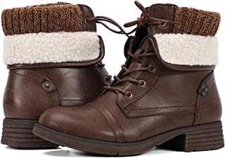 Moda Chics Leather Ankle Boots for Women Combat Boots Brown Size: 10