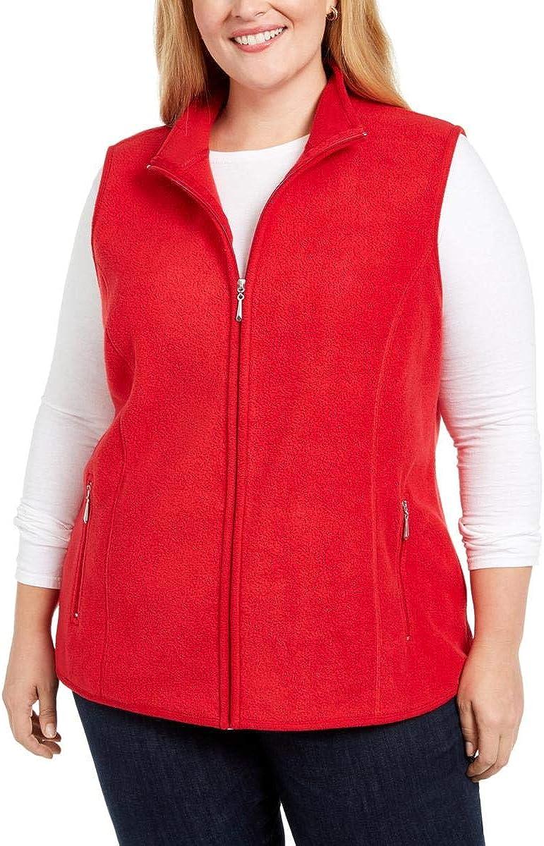 Karen Scott Sport Womens Plus Zeroproof Fleece Fitness Vest