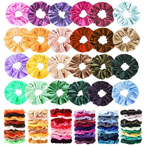 Haquno 60 StückSamt Haargummis Velvet Scrunchies für Mädchen Scrunchies Haar Gummibänder Haarbänder Elastischer Bunte Haarschmuck Haarseil für Mädchen Damen Frauen Pferdeschwan