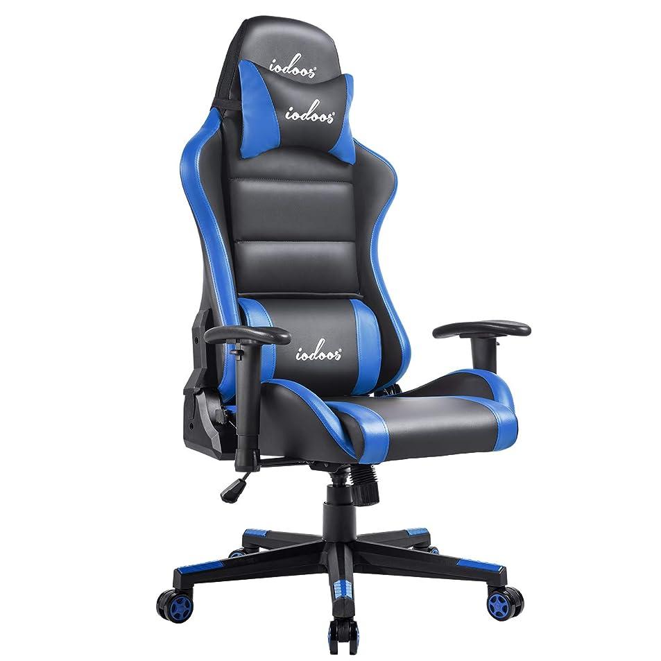 蒸広々原油IODOOS ゲーミングチェア 通気性抜群 gaming chair ゲーム用チェア 180度リクライニング ハイバックチェア 腰痛対策 PUレザー ブルー 65BAA