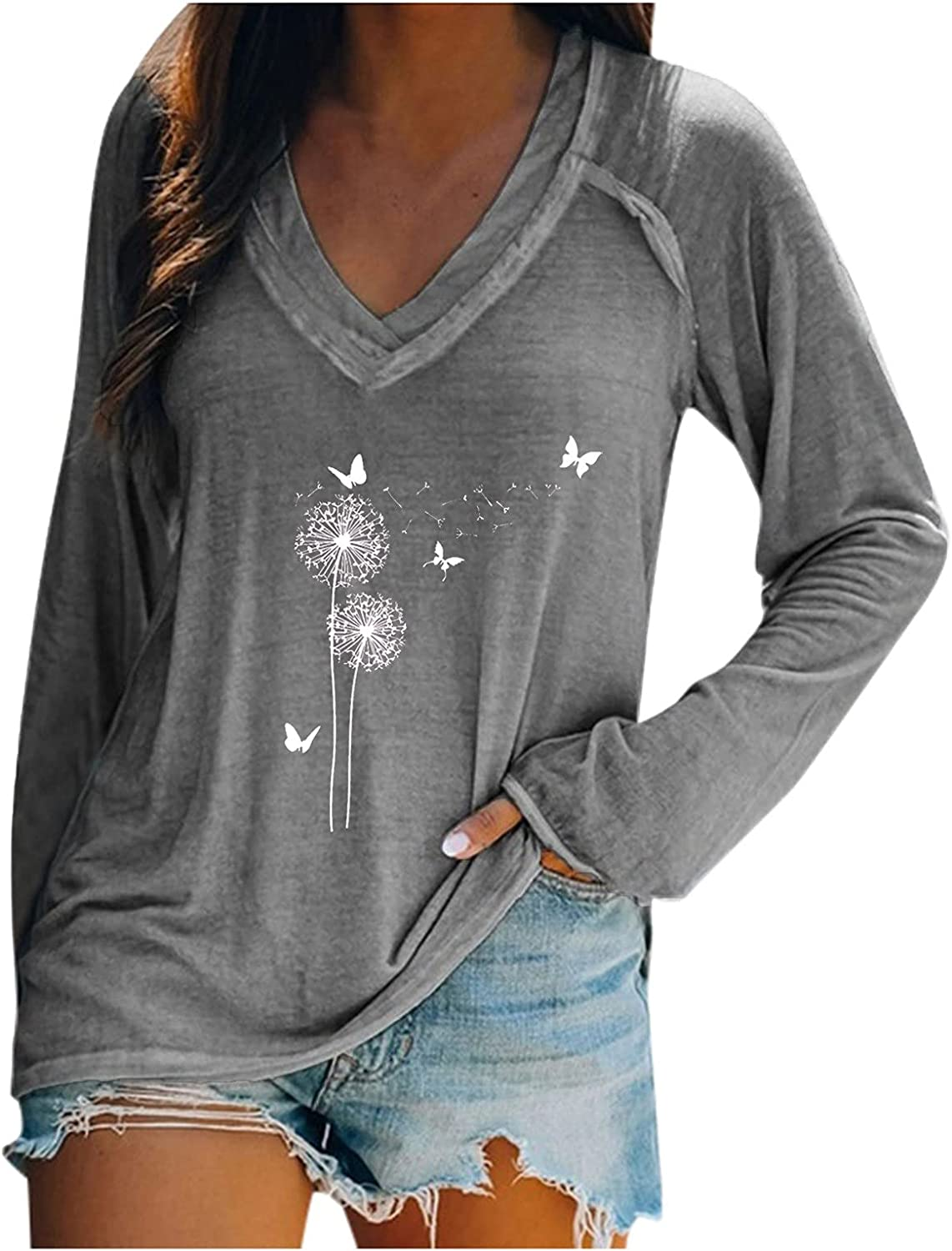 Long Sleeve Top for Women Casual Dandelion Graphic Print Tunic Tops Vintage V-Neck Shirts Loose Pullover Blouse Tops