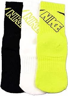 Toddler Kids 3 Pairs Pack Crew Socks 13C-3Y, Green/White/Black