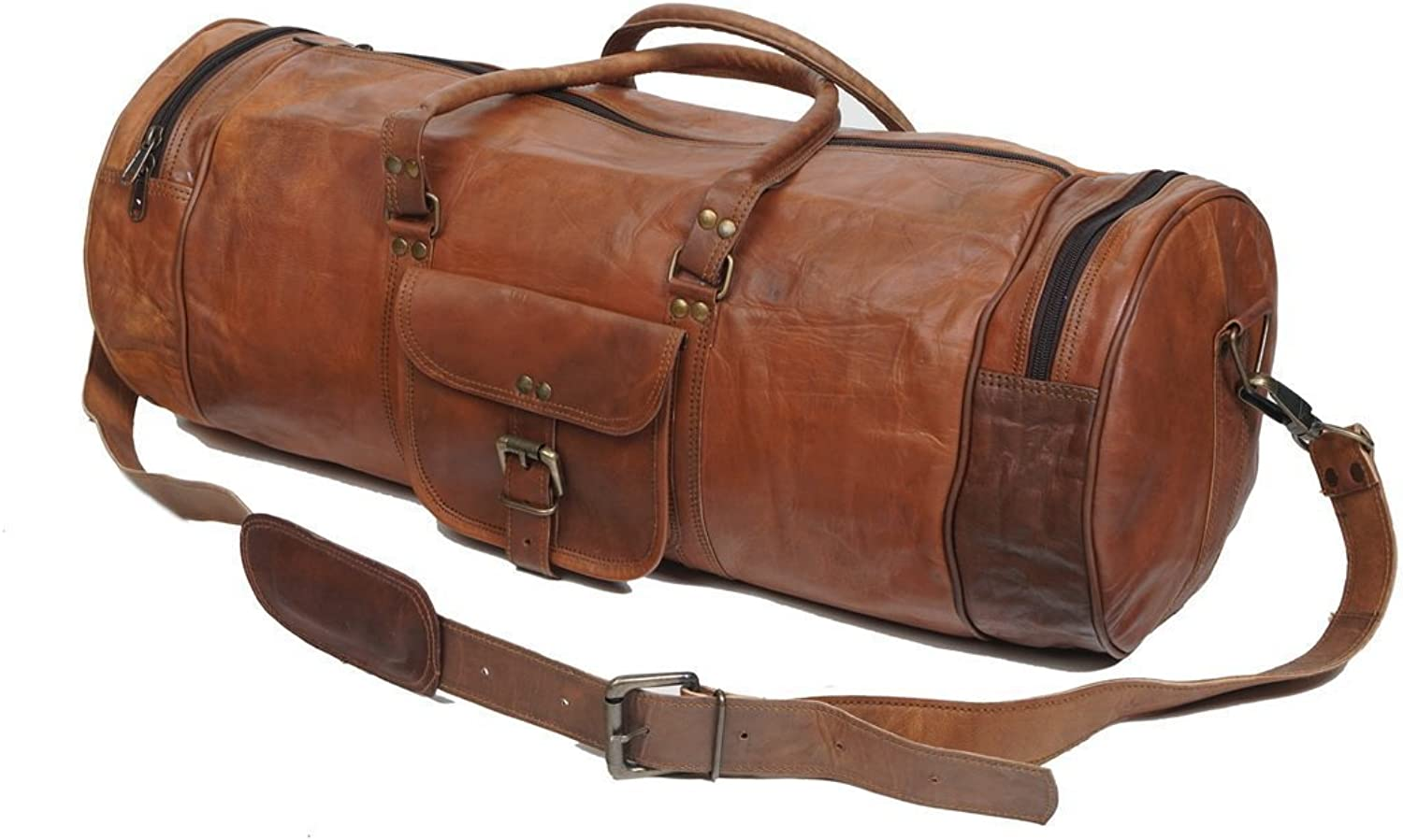 LeatherCrafts 26  Leather Duffle Travel Overnight Gym Bag Weekend Bag Big Brown (26 Inch)