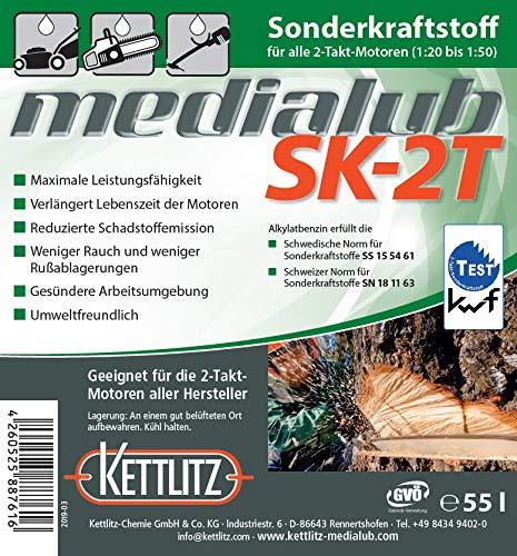 55 Liter KETTLITZ-Medialub SK-2T Alkylatbenzin für 2 Takt, Zweitaktmotoren, KWF Geprüft